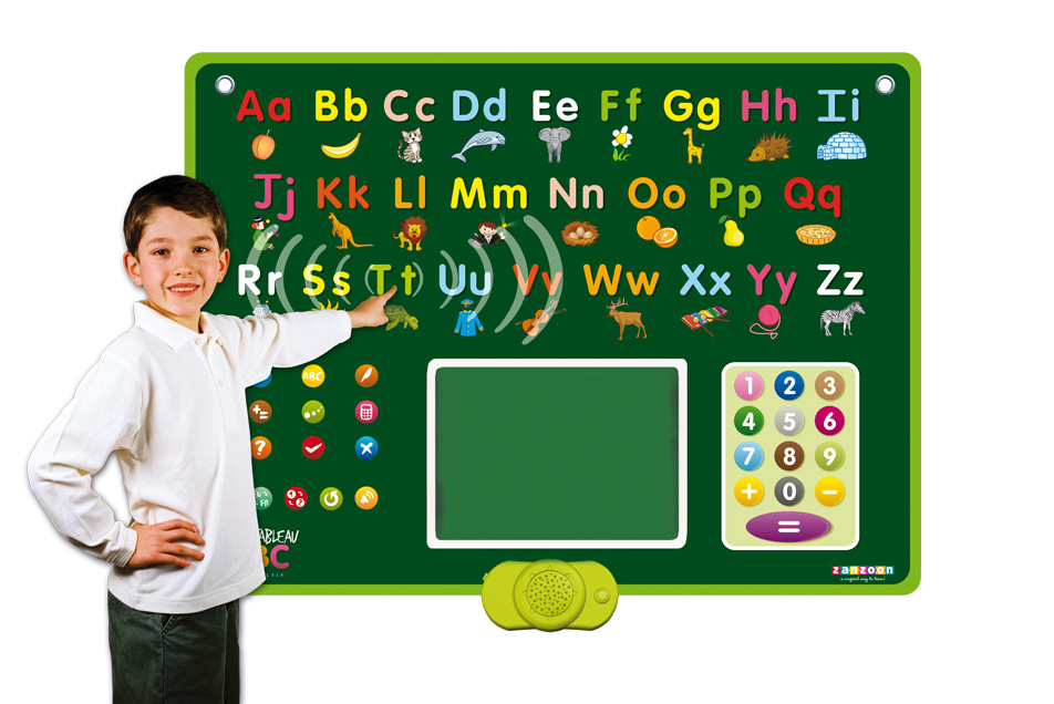 Abc board zanzoon a big interactive chalkboard to learn how to read write and count while having fun gumiabroncs Image collections